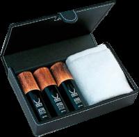Ebenholz Jungbrunnen Set Box = After Shave Balm Anti Age 30 ml + Kraftpflege Anti Age 30 ml + Straffendes Augenserum 30 ml + Gesichtstuch