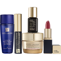 Estée Lauder Going Out Starter Set = Supreme+ Cr.15 ml + Gentlie Eye Makeup Rem. 30 ml + Sump.Ext.Mascara Mini + Adv.Ni.Repair 7ml + Pure Co.Lipstick Rebell.Mini