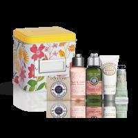 L'Occitane Frühlings-Täschchen 2021 = Shea Seife Milch 50g + Kirschblüte Handcreme 10ml + Repair Shampoo 75ml + Herbae DG 50ml + Shea Leichte Gesichtscr. 8ml