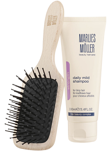 Marlies Möller Brush & Cleansing Set 1 = Travel Hair & Scalp Brush + Strength Daily Mild Shampoo 100 ml
