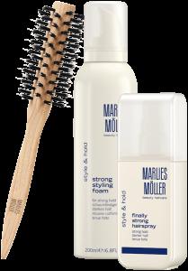 Marlies Möller Style & Hold Set 5 = Finally Strong Hairspray 125 ml + Strong Styling Foam 200 ml + Medium Round Brush