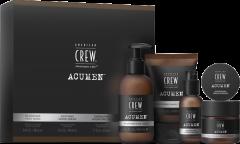 American Crew Acumen 4-Step Regime Set = In-Shower Face Wash 190 ml + Soothing Shave Cream 100 ml + Energizing Hydrating Gel 50 ml + Nourishing Cream Pomade 60 g
