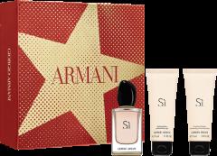 Giorgio Armani Sì Set = E.d.P. Nat. Spray 50 ml + Gel Douche 75 ml + Lait pour le Corps 75 ml