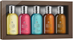 Molton Brown The Icons Travel Collection = Bath & Shower Gel je 100ml -  Oran.& Berg.+ Fiery Pink Pe. + Co.Cypress & Sea Fen. + Re-charge Black Pep.+ Tobac.Abs.