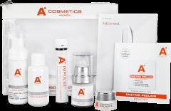 A4 Cosmetics Perfect Balance Set = F & W Mousse 50 ml + PB Tonic 50 ml + PB Fluid 15 ml + PB Mask 7 ml + En. Peel. Powder Mini + 1x  Ampulle Impulse + 1x Leporello