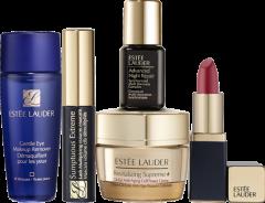 Estée Lauder Going Out Starter Set = Supreme+ Cr.15 ml + Gentlie Eye Makeup Rem. 30 ml + Sump.Ext.Mascara Mini + Adv.Ni.Repair 7ml + Pure Co.Lipstick Rebell.Mini