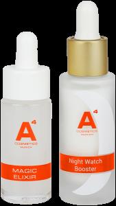 A4 Cosmetics Day & Night Seren Set = Night Watch Booster 20 ml + Magic Elixir 20 ml + Day Watch SPF 20 3 ml + Night Watch SPF 20