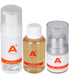 A4 Cosmetics Clean & Glow Beauty Set = Face Delight Moisturizer + Face Wash Mousse + Facial Tonic Cleanser