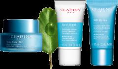 Clarins Hydra-Essential Set = Crème Désaltérante 50 ml + Mask SOS Hydra 15 ml + Fresh Scrub 15 ml